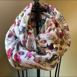 Betsey Johnson Illustrated Cartoon Infinity Scarf